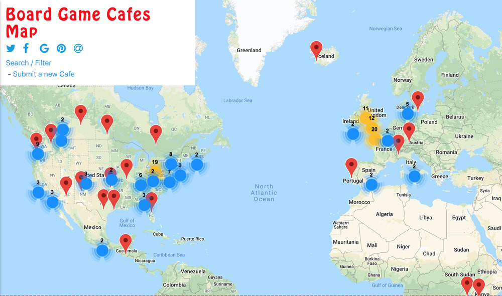 Board Game Cafe Map